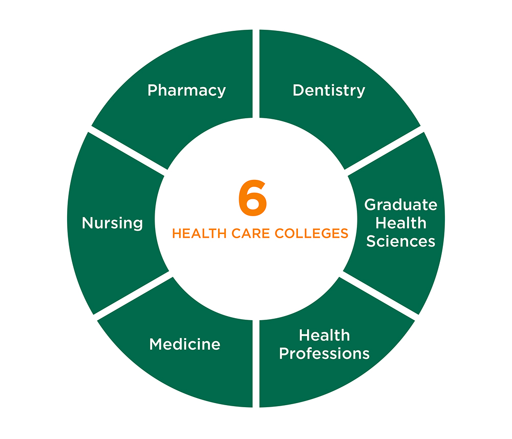 UTHSC has six colleges - Dentistry, Graduate Health Science, Health Professions, Medicine, Nursing, and Pharmacy.