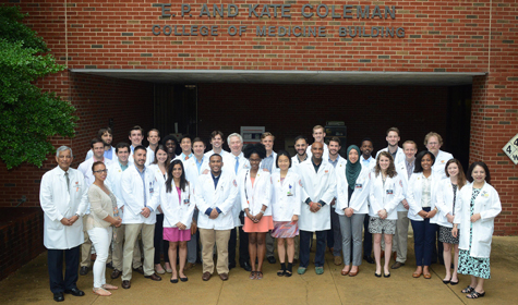 Cardiology fellows outside the Coleman building
