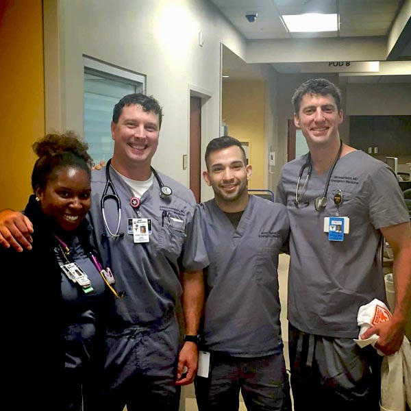 Four residents in a hospital setting