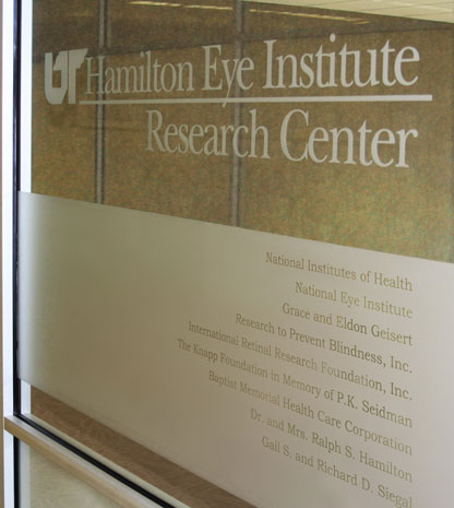 Center for Vision Research sign at Hamilton Eye Institute.