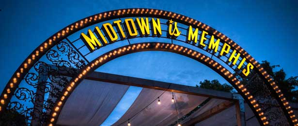 Lightbulb archway that says Midtown is Memphis