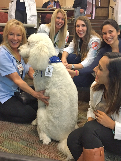 Five female residents with a therapy dog