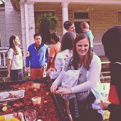 residents fellowshiping over crawfish