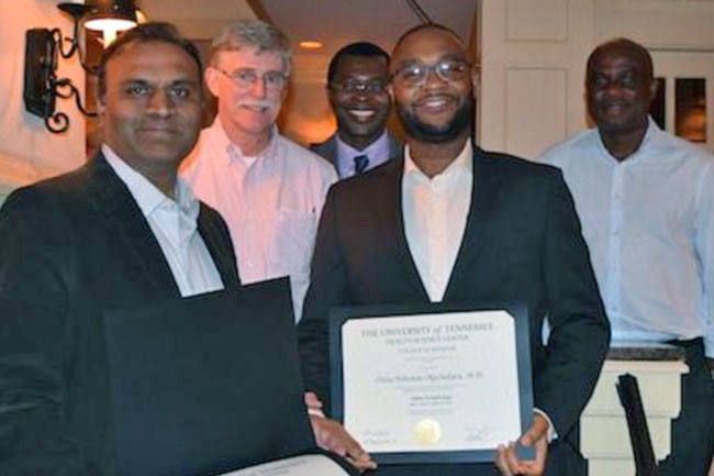 Dr. Wall with four graduating Nephrology fellows