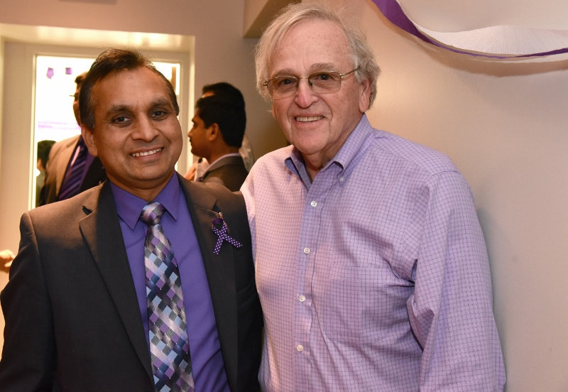 UTHSC's pancreatic cancer research efforts are led by Dr. Subhash Chauhan (left). He is pictured with Alan Kosten of the Kosten Foundation.