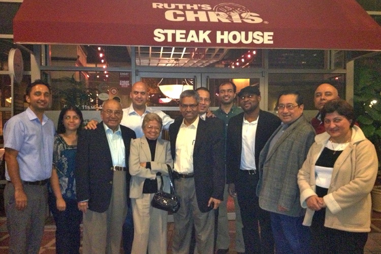 Fellows and faculty outside Ruth's Chris Steak House