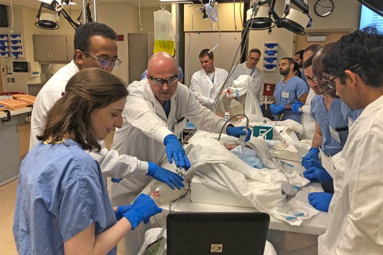 Fellows training in the operating room